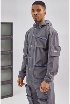 Charcoal grey 3D Pocket Cargo Parka Jacket