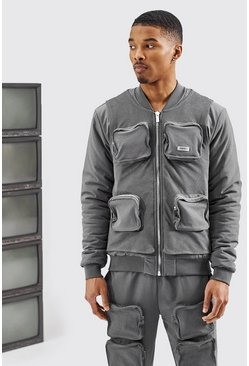 Charcoal grey Mesh Cargo Bomber Jacket
