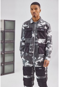 Black Camo Printed Cargo Jacket