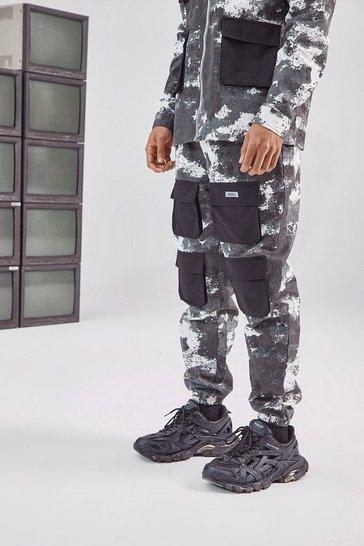 Black Camo Printed Cargo Pant