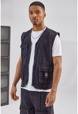 Black Utility Denim Vest Jacket