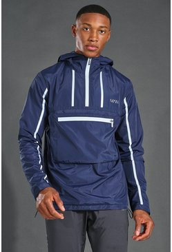 Navy MAN Active Reflective Over The Head 1/4 Zip Cagoule