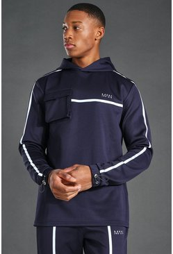 Navy MAN Active Reflective Over The Head Hoodie