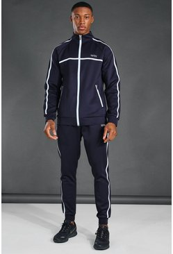 Navy MAN Active Reflective Zip Funnel Neck Tracksuit