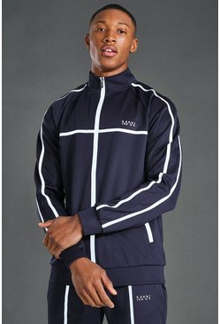 Navy MAN Active Reflective Zip Funnel Neck Track Top