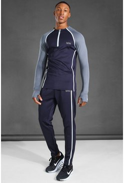 Navy Man Active Reflective Muscle Fit Tracksuit
