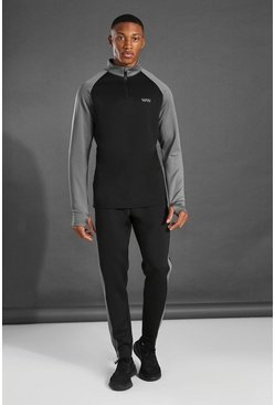 Black MAN Active Colour Block Funnel Neck Tracksuit