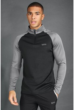 Black MAN Active Raglan Colour Block Funnel Neck Top