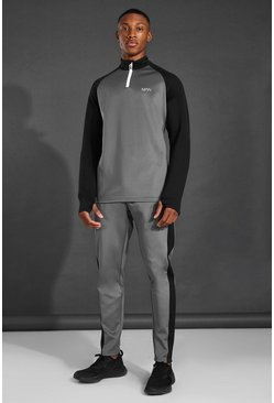 Charcoal grey MAN Active Colour Block Funnel Neck Tracksuit