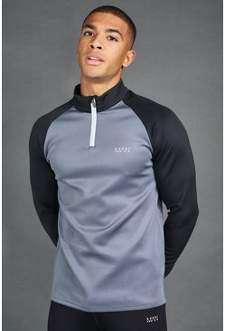 Charcoal grey MAN Active Raglan Colour Block Funnel Neck Top