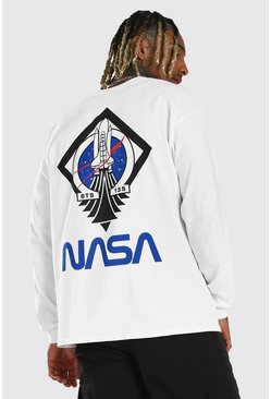 White Loose Fit NASA Back Print License LS T-Shirt
