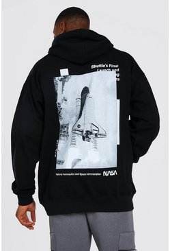 Oversized NASA Rocket Back Print License Hoodie, Black noir