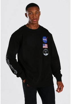 Black Oversized NASA Repeat Print License Sweat