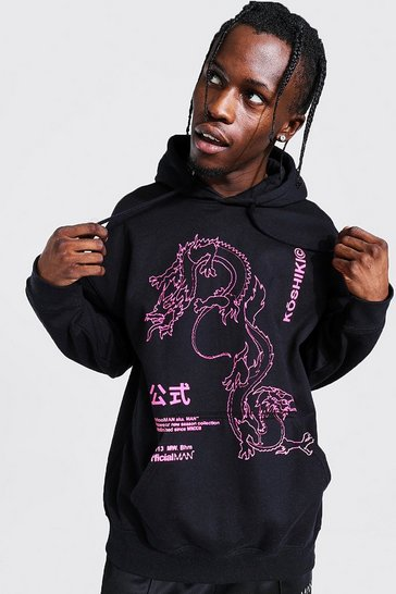 Black Oversized Dragon Outline Print Hoodie
