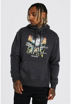 Charcoal grey Oversized MAN Butterfly Flame Print Hoodie