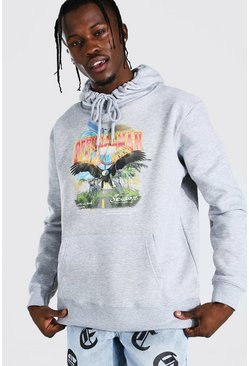 Light grey grey Oversized Official MAN Eagle Print Hoodie