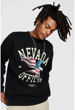Black Oversized Nevada USA Print Sweatshirt
