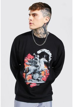 Black Oversized Official MAN Statue Print Sweatshirt