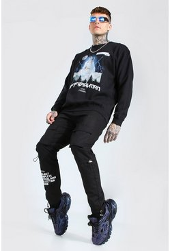 Black Oversized Official MAN Wolf Print Sweatshirt