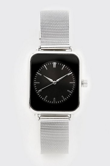 Silver Metal Strap Square Face Watch