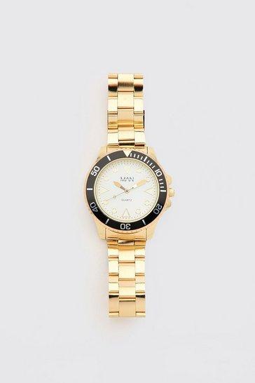 Gold metallic MAN Dash Contrast Bezel Watch