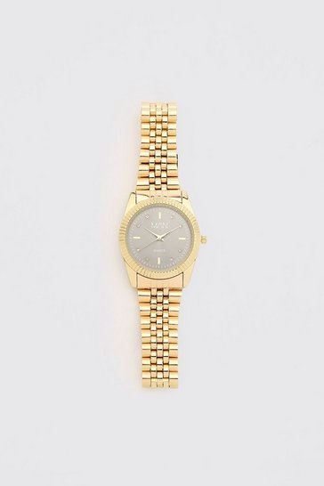 Gold metallic MAN Dash Grey Face Watch