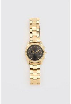 Gold metallic MAN Dash Contrast Face Watch