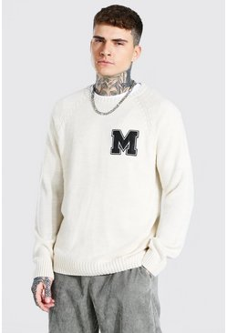 Cream white Man Varsity Patch Crew Neck Knitted Jumper
