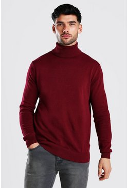 Oxblood Regular Fit Roll Neck Jumper