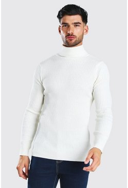 White Regular Fit Ribbed Roll Neck Jumper