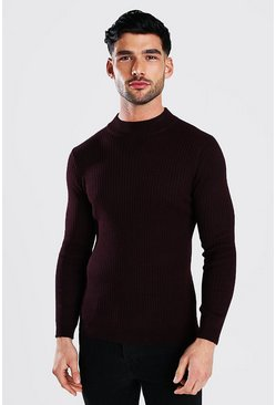 Oxblood Regular Fit Ribbed Turtle Neck Jumper