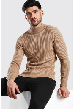 Camel Regular Fit Ribbed Turtle Neck Jumper