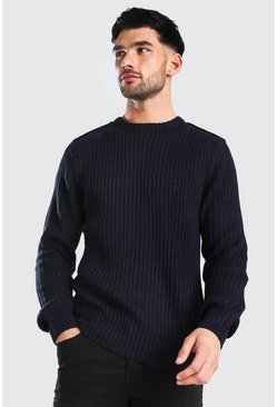 Navy Crew Neck Knitted Jumper With Utility Patches