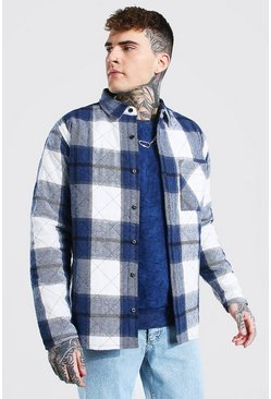 Cobalt blue Flannel Check Quilted Overshirt