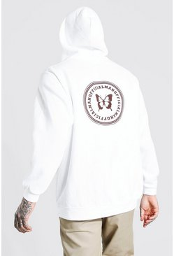 White Oversized MAN Official Butterfly Back Print Hoodie
