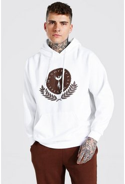 White Oversized MAN Official Crest Print Hoodie