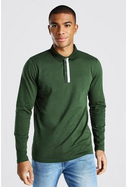 Khaki Long Sleeve Contrast Panel Polo