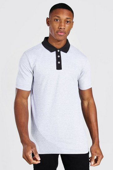 Grey marl grey Muscle Fit Contrast Collar Polo