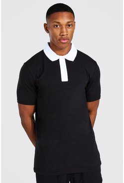 Black Muscle Fit Contrast Collar Polo