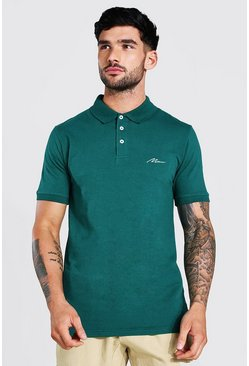 Forest green Man Signature Muscle Fit Polo