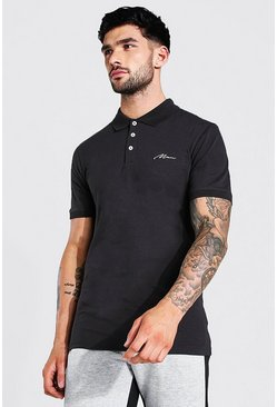 Slate grey Man Signature Muscle Fit Polo