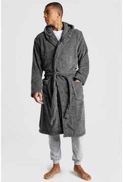Grey Plain Hooded Dressing Gown