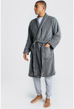 Grey Plain Shawl Collar Dressing Gown