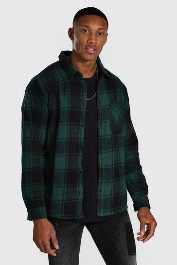 Khaki Long Sleeve Buffalo Brushed Check Shirt