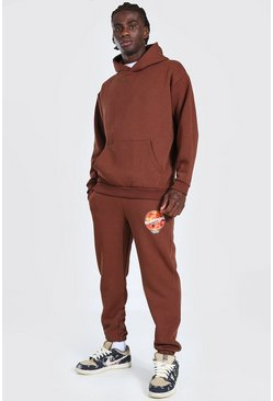 Chocolate Oversized MAN Mars Print Hooded Tracksuit