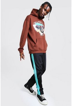 Chocolate brown Oversized Printed Hoodie with Tricot Jogger Set