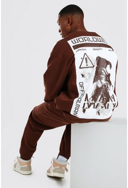 Chocolate brown Oversized MAN Astronaut Print Sweater Tracksuit