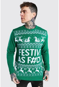 Emerald Festive Slogan Knitted Christmas Jumper