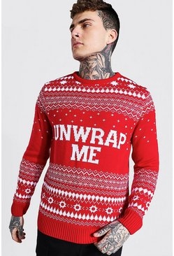 Unwrap Me Knitted Christmas Jumper, Red rouge