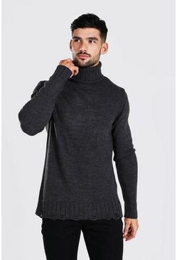 Chunky Roll Neck Jumper With Nibbled Edge, Charcoal gris